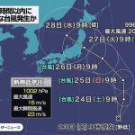 【速報】台風8号の進路予想図がヤバイ…東京オリンピック終わるぞ・・・